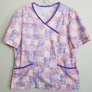 Tops - 4/$25 Women's Pink & Purple Patchwork Cat Scrubs
